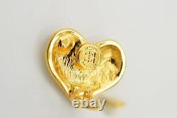 Givenchy Signed Vintage Earrings Clip On Red Rhinestone Heart Logo Runway 80s 9D