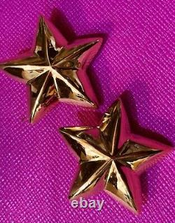 Givenchy Vintage Big Star Earrings Clip Signed Excellent Never worn on Card