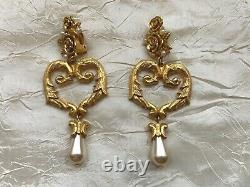 Gorgeous Vintage Ungaro, Paris Clip-on Pendant Earrings -Heart shape, pearl 8cm