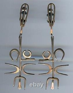 Great Huge Modernist Vintage Sterling Silver Long Dangle Clip Earrings