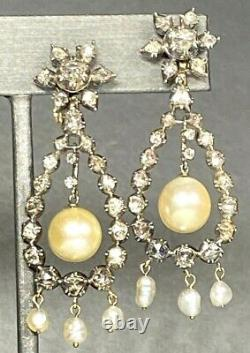 HUGE Antique Victorian Gold Silver Rose-Cut Diamond Natural Pearl Clip Earrings