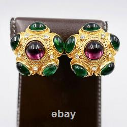 Joan Rivers Cabochon Clip Earrings Swarovski Crystal Rhinestones Gold Vintage