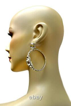 John Galliano Christian Dior Swarovski Crystal Embellishment Hoop Clip Earrings