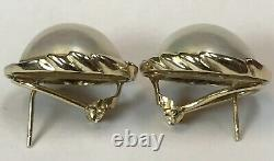 Large Vintage 14k Yellow Gold Mother Of Pearl & Diamond Clip Back Earrings