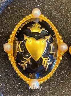 Large Vintage Karl Lagerfeld Enamel Gold Plated Clip Earrings