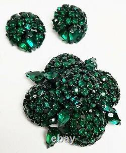 Large Vintage WARNER Green Domed Rhinestone Brooch & Clip Earrings Japanned Set