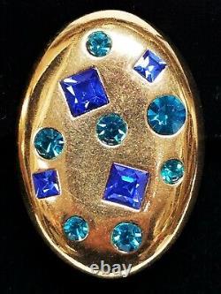 Large Vintage YSL Yves Saint Laurent Blue Rhinestone Adjustable Clip Earrings