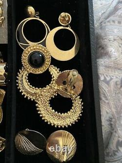 Lot Vintage Gold Tone Door Knocker cabachon Earrings Clip Paolo Gucci