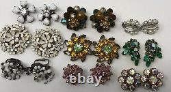 Lot of vintage Clip Earrings Weiss Robert Trifari Judy Lee De Mario Leru Kramer