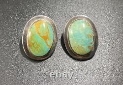 Native American Navajo Kingman Turquoise Cab Clip On Earrings Vintage