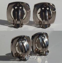 No used! Rare! GIANNI VERSACE Vintage Medusa Head Silver Tone Clip on Earrings