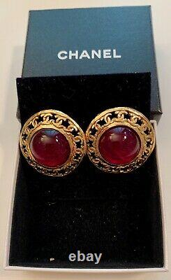 Original Vintage CHANEL gold tone clip on Earrings with red Gripoix by Victoire