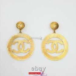 RARE Vintage CHANEL Sunburst XL CC Clip-On Hoop Earrings 24K Gold Plated