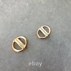 RARE Vintage Christian Dior CD Logo Gold Tone Clip On Earrings