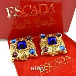 RARE Vintage Escada Margaretha Ley Gold Purple/Blue Jeweled Clip-On Earrings
