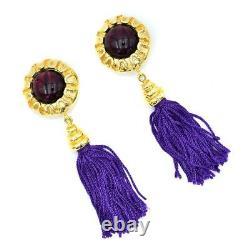 RARE! Vtg 80s ESCADA 4.5 Long Purple & Gold Round Gem Tassel Clip-On Earrings
