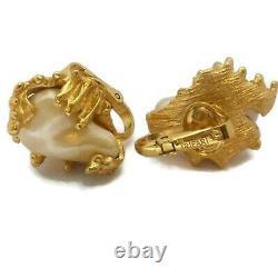 Rare VINTAGE TRIFARI Baroque Pearl Earrings 70's Nugget Clip Jonathan Bailey