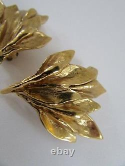 Rare VTG YSL Yves Saint Laurent Goldtone Olive Branch Leaf Clip on Earrings