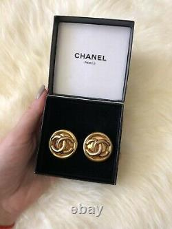 Rare Vintage Authentic Chanel Large Earrings Gold Plated CC 1993 Clip On