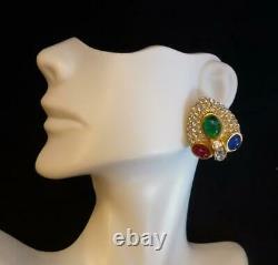 Rare! Vintage GROSSE Germany (DIOR) Rhinestone & Moghul Cabochon Clip Earrings