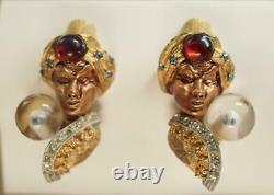 Rare Vintage HAR Fortune Teller Genie Costume Clip On Earrings
