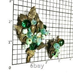 Rare Vintage Hattie Carnegie Green Beaded Brooch & Clip Earrings Set