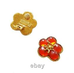 Rare Vintage KENZO Collectible clip-on earrings Cherry Blossoms Sakura Flowers
