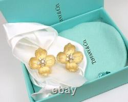 Rare Vintage Tiffany&Co 18K Gold Diamond X-Large Dogwood Flower Clip-On Earrings