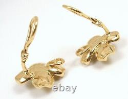 Rare Vintage Tiffany & Co 18K Yellow Gold Dogwood Flower Clip-On Earrings withbox