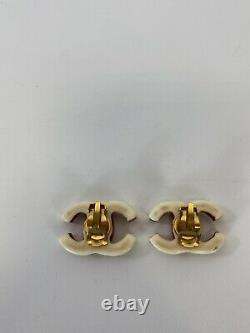 Rare Vtg Chanel Ecru CC Logo Clip Earrings