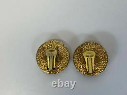 Rare Vtg Gianni Versace Gold Medusa Clip Earrings