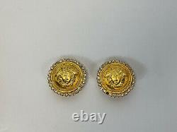 Rare Vtg Gianni Versace Gold Medusa Crystal Clip Earrings