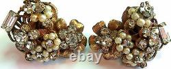 Robert Signed Vintage Crystal&pearl Clip Back Earrings Tiny Flowers Estate Find
