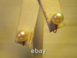 STUNNING VTG 14K GOLD GENUINE MIKIMOTO QUALITY AKOYA 7mm PEARL SCREW ON EARRINGS