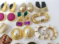 STUNNING Vintage Mod Large Statement Earrings LOT Clip-On & Pierced 46 pairs