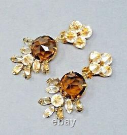 Schreiner Earrings Vintage Rhinestone Large Dangle Glass Clip Signed