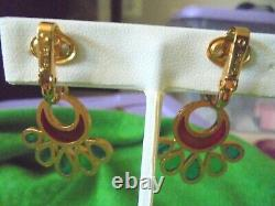 Signed CROWN TRIFARI Vintage Clip Earrings Plique A Jour Stained Glass Floral
