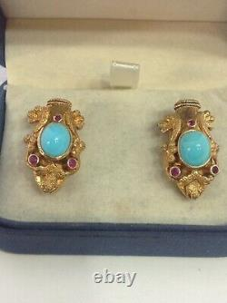 Signed Lalaounis 18k Yg. Clip Earrings. Snakes. Vintage. Ruby Turquoise