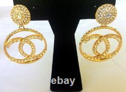 Super Rare Massive Vintage Chanel Crystal CC Logo Dangle Drop Earrings