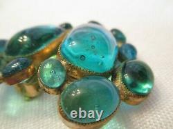 THE BEST Vintage POURED GLASS Clip on EARRINGS Signed HATTIE CARNEGIE