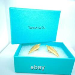 TIFFANY & CO. 18k Yellow Gold Feather Clip On Earrings Vintage RARE