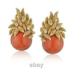 Tiffany & Co. 18k Yellow Gold Vintage Round Coral Diamond Clip On Earrings