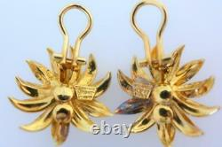 Tiffany & Co. Vintage 18kt Italy Yellow Gold And Diamond Flower Earrings