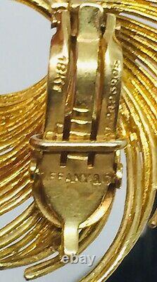 Tiffany & Co. Vintage Authentic 18k Yellow Gold Feather Design Clip Earrings