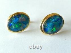 VINTAGE 14K Yellow Gold French Clip Blue Green Fire Opal Earrings 5/8 x 1/2