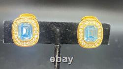 VINTAGE 1970s CHRISTIAN DIOR GOLD TONE BLUE Topaz CLIP-ON EARRINGS