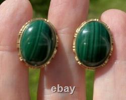 VINTAGE ESTATE GREEN MALACHITE 14K GOLD OMEGA CLIP STUD EARRINGS 18x14mm