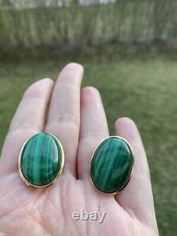 VINTAGE ESTATE GREEN MALACHITE 14K GOLD OMEGA CLIP STUD EARRINGS 1 x 3/4 13gr