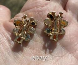 VINTAGE ESTATE MULTI COLOR JADE 14K GOLD OMEGA CLIP STUD EARRINGS 25x20 mm 7gr