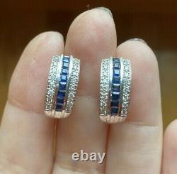 VINTAGE ESTATE NATURAL SAPPHIRE DIAMOND 14k GOLD OMEGA CLIP STUD EARRINGS 4.8 gr